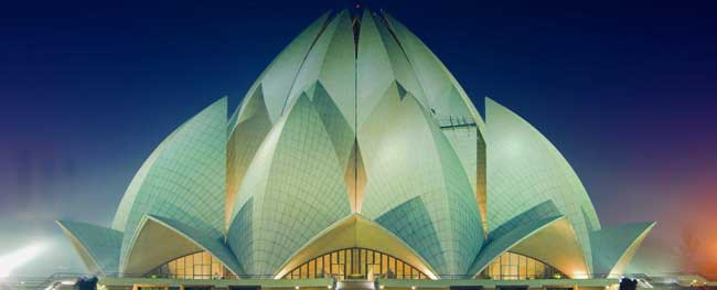 Night view of Lotus Template, Delhi